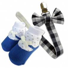 Bumble Bee - Baby Pacifier Clips with Socks Set *Blue Checkered*
