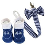 Bumble Bee - Baby Pacifier Clips with Socks Set *Tiny Blue Checkered*