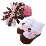 Bumble Bee - Baby Headband with Socks Set *Coffee Pink*