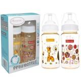 Autumnz - PPSU Wide Neck Feeding Bottle 10oz/300ml (Twin Pack) *Jovial Giraffe / Abstract*