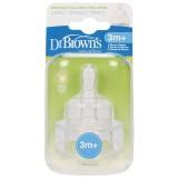Dr Brown's - Wide Neck *Option* Silicone Teats 2pcs (3m+)