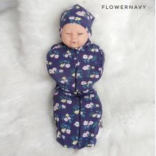 * CuddleMe - Hybrid Swaddlepod *FLOWER NAVY*