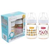 Autumnz - PPSU Wide Neck Feeding Bottle 6oz/180ml (Twin Pack) *Ellie Elephant / Blooming Pink*