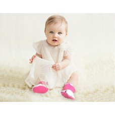 * CuddleMe - Fitted Baby Booties *STRIPE PINK*