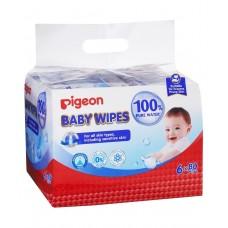 Pigeon - Baby Wipes 100% Pure Water 80's (6in1) *BEST BUY