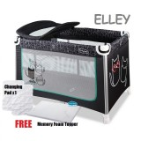 Comfy Baby - Travel Cot *ELLEY* (FOC Memory Foam Topper & Changing Pad)