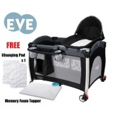 Comfy Baby - Travel Cot *EVE* (FOC Memory Foam Topper & Changing Pad)