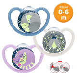 NUK- Space Night Silicone Soother S1 W/Cover (0-6m) *1pcs* Best Buy