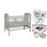 Seni Daya - Standard Baby Cot (Ivano) & LATEX Mattress & 7pcs Crib Set Package