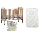 Seni Daya - Standard Baby Cot (Diona) & FIBER Mattress & 7pcs Crib Set Package