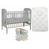 Seni Daya - Standard Baby Cot (Ivano) & FIBER Mattress & 7pcs Crib Set Package