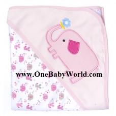 Premium Hooded Receiving Blanket-  Ellie The Elephant *PINK*