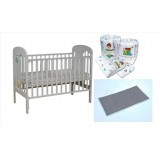 Seni Daya - Standard Baby Cot (Ivano) & WATER Mattress & 7pcs Crib Set Package