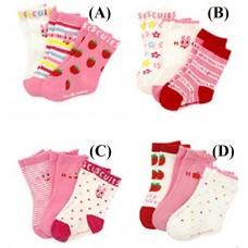Adorable - 3pcs Colourful Pink Socks *Mixed Designs*